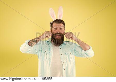 Barber Salon. Lucky Guy. Man Long Rabbit Ears. Bearded Man Easter Rabbit Costume. Easter Bunny Or Ha