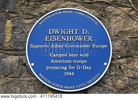 Weston-super-mare, Uk - March 5, 2021: A Blue Plaque Commemorating General (later President) Dwight