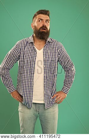 Holy Wow. Surprised Hipster Blue Background. Hipster Keep Mouth Open With Surprise. Hipster In Casua