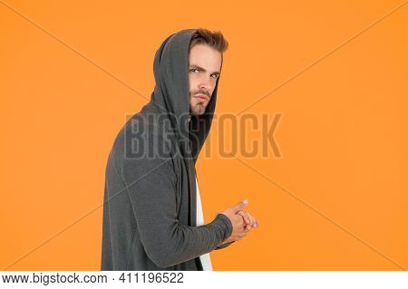 I Will Be Back. Comfy Garment For Daily Life. Fashion Man Yellow Background. Fashion Look. Handsome