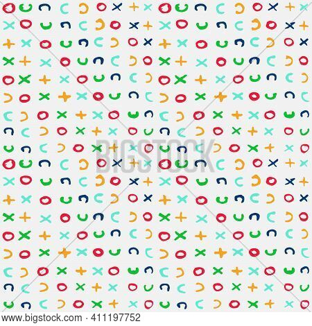 Abstract Hand Drawn Seamless Pattern Background With Multi-colored Varied Triangles Shapes And Lette
