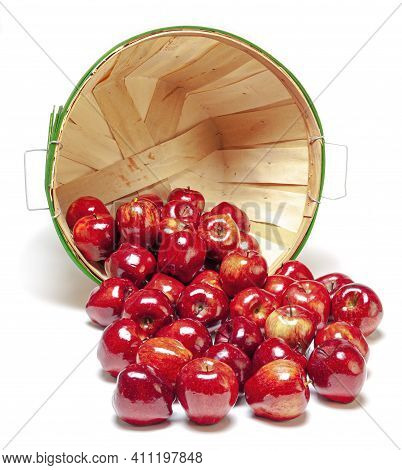 Vertical Shot Of A Basket On Its Side With The Red Shiny Apples Spilling Out.  Isolated On White Wit