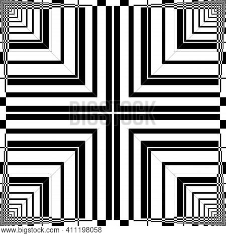 Abstract Fence Four Squares  Like Illusion Arabesque Intersections Black On Transparent Background D