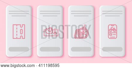 Set Line Bicycle Lane, On Street Ramp, Parking And Rental Mobile App. White Rectangle Button. Vector
