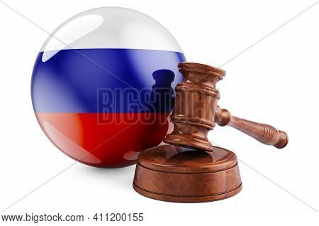 Russian Law And Justice Concept. Wooden Gavel With Flag Of Russia. 3d Rendering Isolated On White Ba