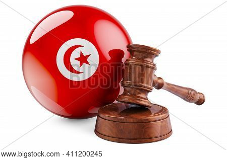 Tunisian Law And Justice Concept. Wooden Gavel With Flag Of Tunisia. 3d Rendering Isolated On White