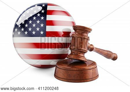 The Usa Law And Justice Concept. Wooden Gavel With Flag Of The United States. 3d Rendering Isolated