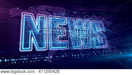 News Global Abstract Concept 3D Illustration