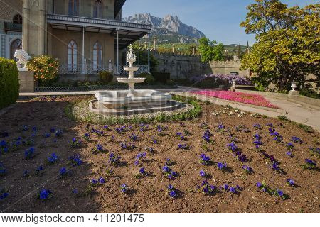 Alupka, Crimea, Russia - April 30, 2019: Vorontsov Palace In Yalta. The Southern Terraces Of The Vor