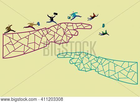 Business People Running And Falling As If Jumping Ship Or In Panic Concept On Hands Outline Pointing