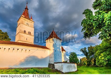 Sunset View Of Harman Saxon Fortified Church In Near Brasov Transylvania Romania