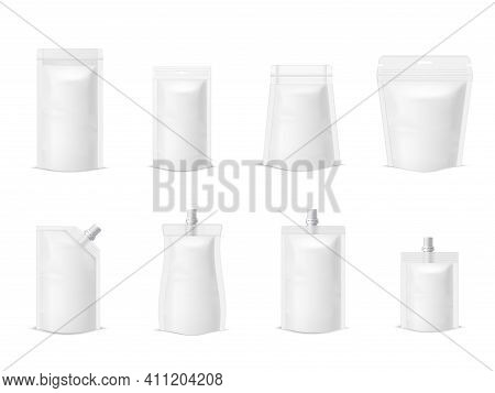 Collection Simple Plastic Paper Doy Pack Mock Up Packaging Vector Illustration