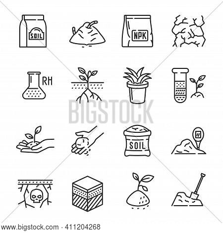 Set Soil Line Icon Vector Illustration Agriculture Agronomy Eco Friendly Nature Healthy Lifestyle