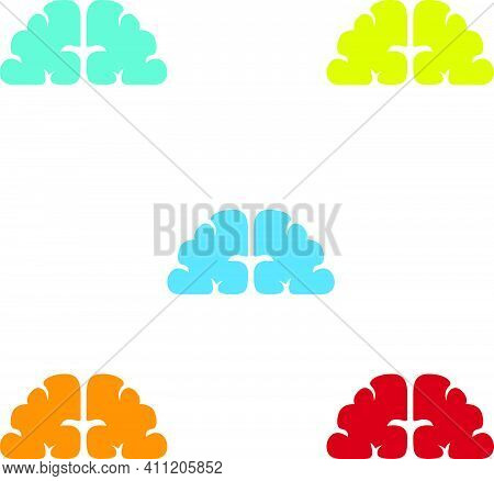 Brainy Illustration Color Abstract Without Outline Brain