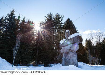 Whistler, Bc, Canada - Feb 28, 2021: Whistler Village Inukshuk.