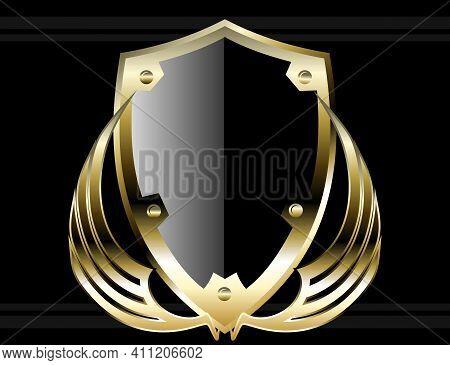 Black And Golden Shield Crest Background Illustration