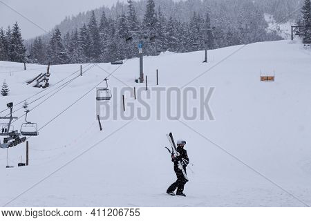 The Base Of Whistler Mountain With Skiers.