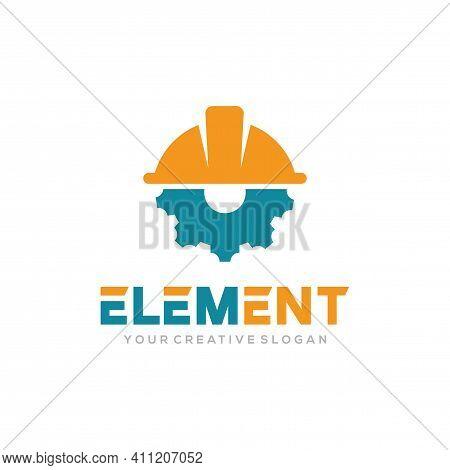 Element Logo Vector, Construct Logo Vector Template. Helmet Construction And Gear Design Concept For