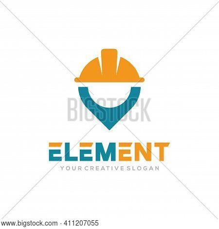 Element Logo Vector, Construct Logo Vector Template. Helmet Construction And Pin Design Concept For