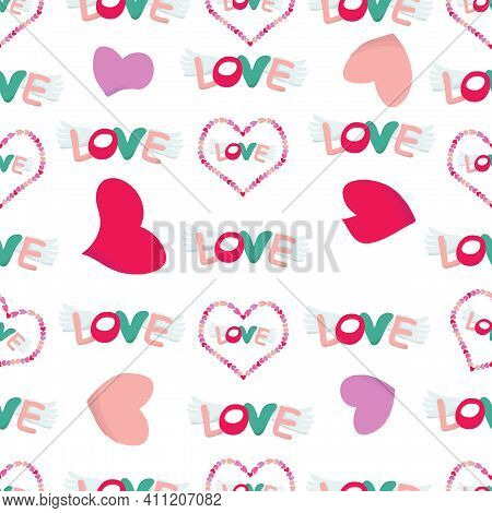Hearts, Love On The Wings. Seamless Pattern. Illustration.