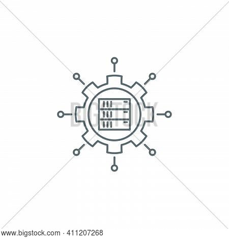 Central Server Icon Vector Filled Flat Sign Solid Pictogram Isolated On White Symbol Logo