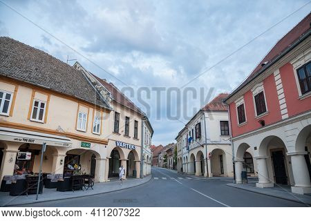 Vukovar, Croatia - May 12, 2018: Franjo Tudjman Street, The Main Street Of The Slavonia City Of Vuko