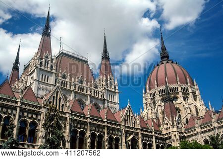 Hungarian Parliament (orszaghaz) In Budapest, Capital City Of Hungary, Taken During A Sunny Afternoo