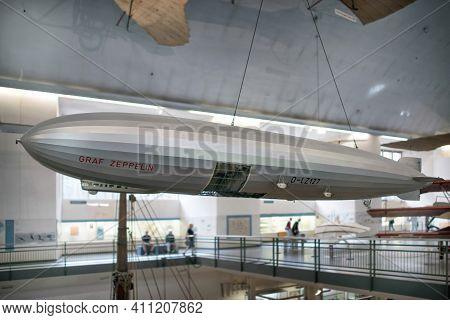 Munich, Germany - September 14, 2018: A Model Of Graf Zeppelin In German Museum.