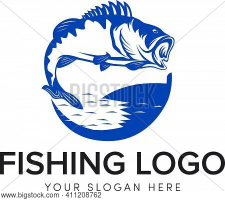 Big Bass Fishing Logo With Jump In The Sea Water