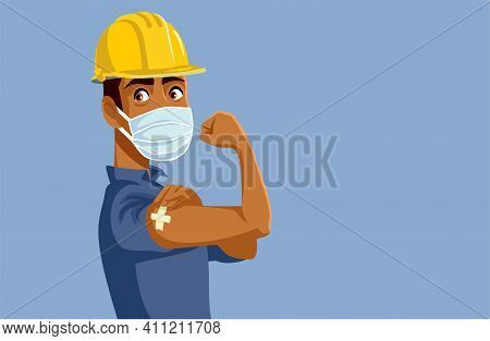Male Worker Showing Vaccinated Arm Vector Illustration