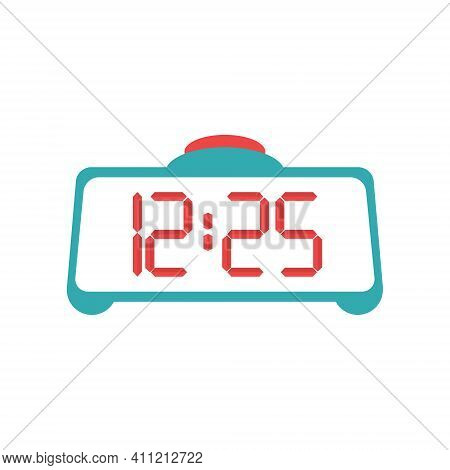 Digital Clock. A Home Clock With An Alarm Clock And A Large Red Button. Flat Vector Illustration