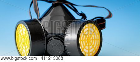 respiratory protection mask on blue