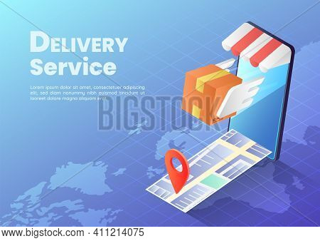 3d Isometric Web Banner Parcels Box With Wings Flying Rapidly From Smartphone With Map And Pin. Fast