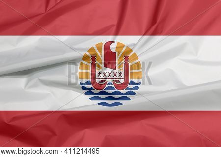 Fabric Flag Of French Polynesia. Crease Of French Polynesia Flag Background. Two Red Horizontal And