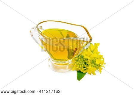 Oil Mustard In Gravy Boat With Flower
