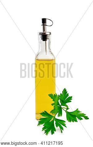 Oil Or Vinegar With Parsley In Bottle
