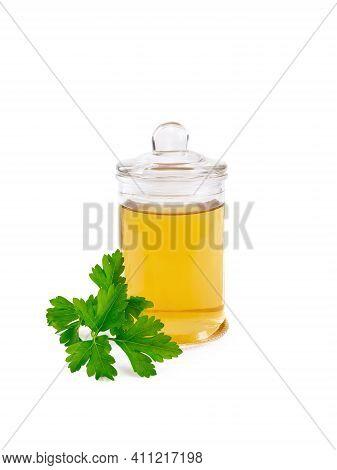 Oil Or Vinegar With Parsley In Jar