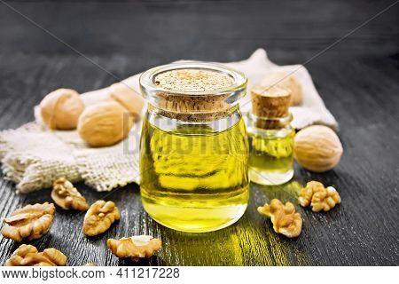 Oil Walnut In Jar With Burlap On Board
