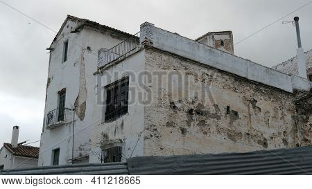 Damaged Rough Wall In Narrow Back Street Street In The Andalusian Village Of Álora