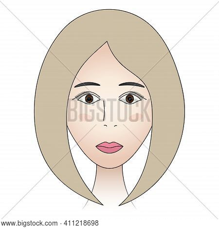 Womans Face. Lady Full Face. Colored Vector Illustration. Cute Blonde With Brown Eyes. Classic Bob H