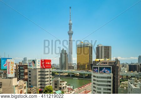 June 13, 2019: Tokyo Skytree, A Broadcasting And Observation Tower In Sumida, Tokyo, Japan. It Becam