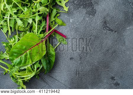 Arugula Raab And Mangold, Swiss Chard, On Gray Stone Background, Top View Flat Lay, With Copy Space