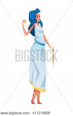 Atropos. Ancient Greek Goddess With A Ball Of Yarn In One Hand And A Spindle In The Other. The Mytho