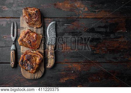Homemade Braised Beef Short Ribs Set, On Old Dark  Wooden Table Background, Top View Flat Lay, With