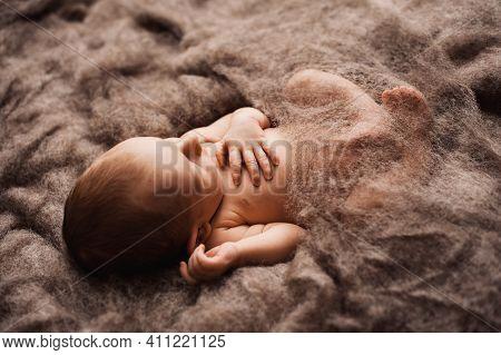 Newborn Baby Asleep On A Grey Wool Blanket At A Newborn Photoshoot