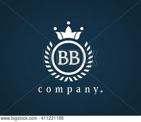 Letter Bb Calligraphic And Crown Monogram. Laurel Elegant Beautiful Round Identity. The Vintage Embl