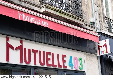 Bordeaux , Aquitaine France - 03 03 2021 : Mutuelle 403 Logo Brand And Text Sign On Store Insurance