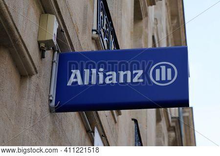 Bordeaux , Aquitaine France - 03 03 2021 : Allianz Logo Brand Insurance Blue Sign Text Store Office