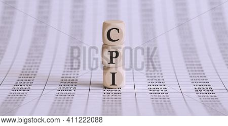 Cpi Word On Wood Blocks Concept On Chart Papers