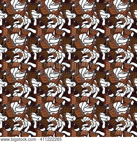 Vector - Stock. Seamless Background Pattern. Doodles On Black, White And Brown Colors. Watercolor, H